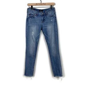 Lucky Brand Lolita Capri Distressed Raw Hem Jeans